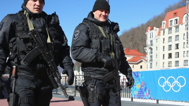 SOCHI, RUSSIA - FEBRUARY 02: Police security patrol around the Rosa Khutor Mountain Cluster village ahead of the Sochi 2014 Winter Olympics on February 2, 2014 in Sochi, Russia. (Photo by Alexander Hassenstein/Getty Images)