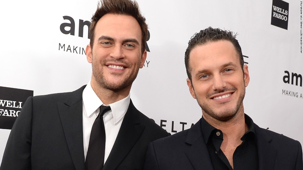 """Glee"" actor Cheyenne Jackson, left, reportedly married actor Jason Landau on September 2014. <a href=""http://www.people.com/article/cheyenne-jackson-marries-jason-landau"" target=""_blank"">According to People</a>, the pair had an outdoor interfaith ceremony at a friend's estate in Encino, California."