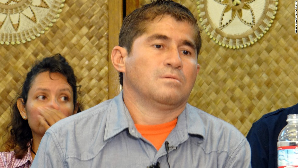 Jose Salvador Alvarenga attends a news conference in Majuro, Marshall Islands, on Thursday, February 6. Alvarenga, who is from El Salvador, said he spent 13 months lost in the Pacific Ocean, floating from Mexico to the Marshall Islands, which is about halfway between Hawaii and Australia.
