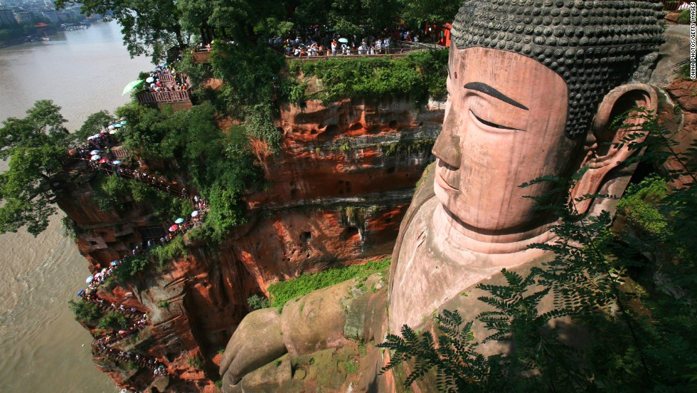 The Leshan Giant Buddha in Mount Emei is part of a UNESCO world heritage site in China's Sichuan province. The 71-meter-high sitting Buddha was carved out of a hillside around 1,200 years ago.