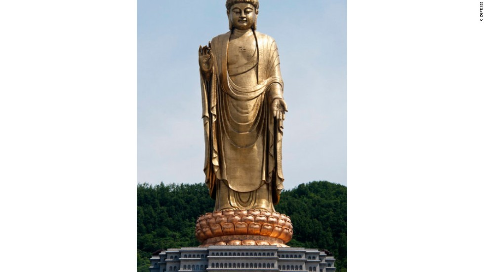 Spring Temple Buddha in Lushan county, Henan Province is the world's largest statue at 208 meters tall. The Buddha, which is 128 meters tall, stands on a 20-meter-high lotus, a 25-meter-high pedestal and a second 35-meter pedestal reshaped from the hill it originally stood on.