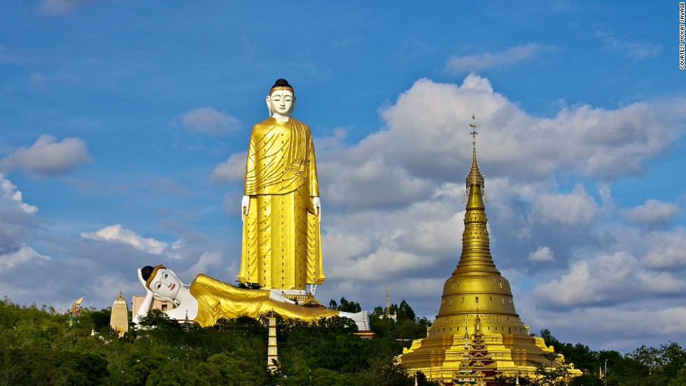 Bodhi Tataung consists of two Buddhas in Monywa, Sagaing Region. Laykyun Setkyar Standing Buddha is a total of 129 meters tall. The 95-meter-long reclining Buddha nearby houses a temple, which has an entrance in the statue's rear end.