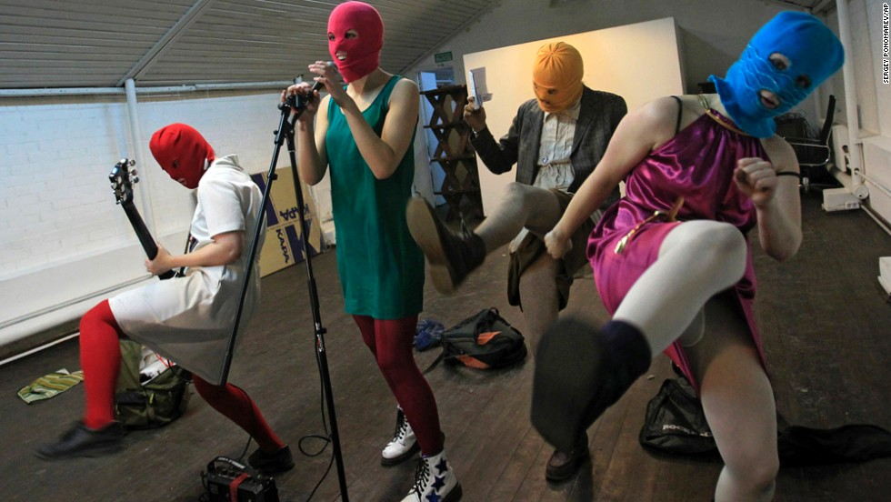 "Members of the Russian punk band Pussy Riot rehearse in Moscow in February 2012. The feminist group has been highly critical of Russian President Vladimir Putin and his policies. A couple of its members were even found guilty of hooliganism and imprisoned for a 2012 ""punk prayer"" performance at a Russian Orthodox cathedral. They were freed from prison in December but said they will continue to be a ""headache"" for Putin's government."