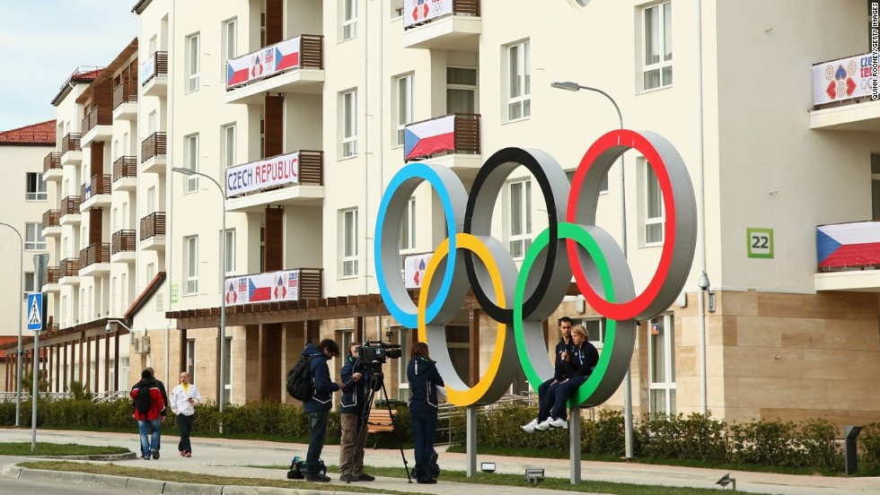 The Czech Republic team lodgings have a privileged view of these fetching Olympic rings.