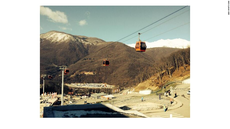 Don't believe everything you read and hear about Sochi. Here are two things that are working: the cable cars at the ski jump and 3G phone connection, even in the mountains.