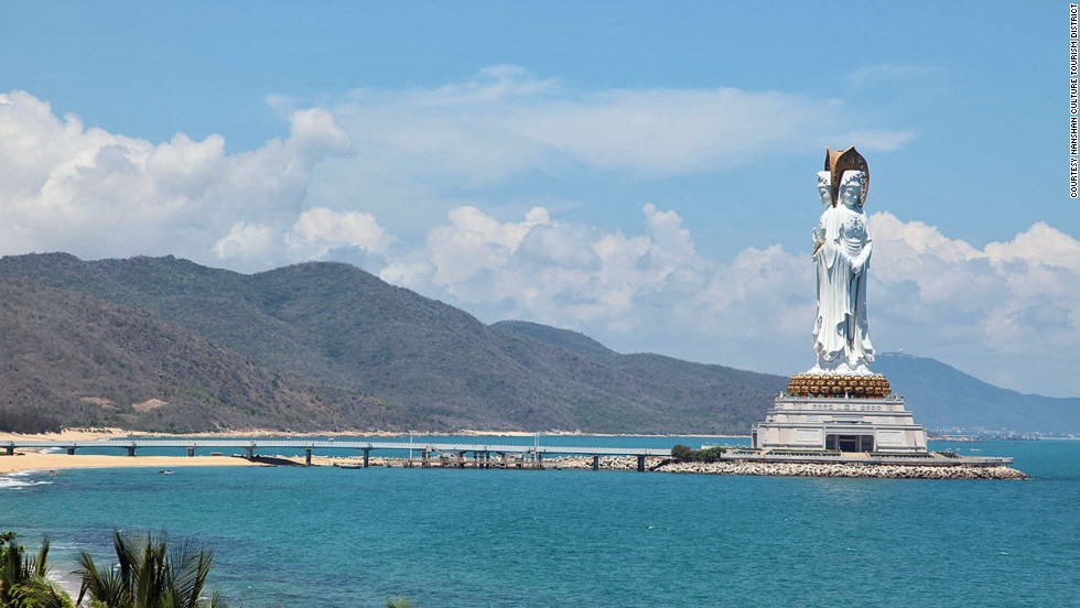 The 108-meter-tall Guanyin on Hainan Island's Sanya has three faces: one facing inland to represent the protection of China, the other two facing the South China Sea to represent blessing the world. It's the fourth largest statue in the world.