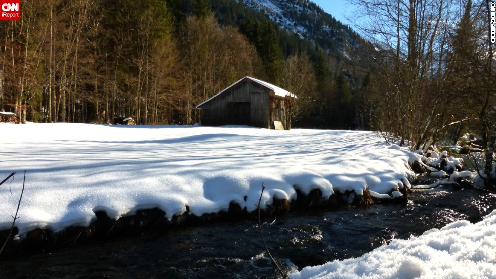 "<a href=""http://ireport.cnn.com/docs/DOC-1072002"">Tour guide Scott Isom</a> was leading a Christmas tour in the Bavarian Alps with Walking Adventures when he came upon this peaceful scene near Oberstdorf, Germany. ""It's fun to bundle up and hit the trail when you can see your breath, and especially when you can use some of that breath enjoying nice conversations with your fellow walkers on the journey."""