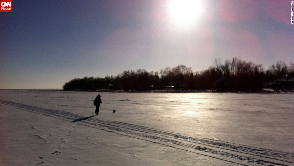 "Will and and his son, Oliver, also <a href=""http://ireport.cnn.com/docs/DOC-1073263"">played soccer </a>for about an hour on a frozen lake. ""He loves soccer and the vast frozen lake offered a great field. The snow was frozen enough that the ball stayed right on top."""