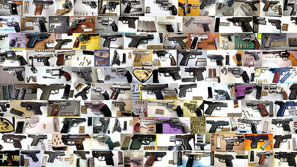 TSA stopped 1,813 guns (80% of them loaded) from passing through U.S. airports in 2013, averaging about five catches per day.