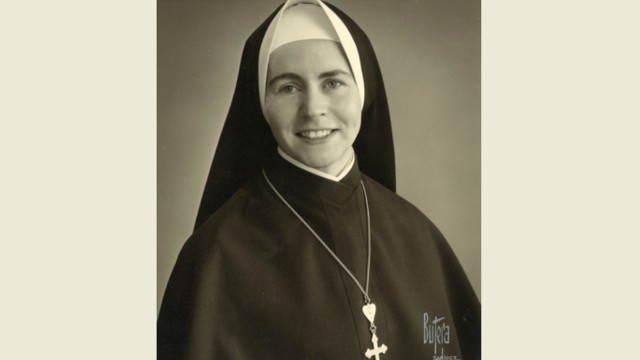Mary as a sister at the Religious of the Sacred Heart of Mary convent in Santa Barbara, California.