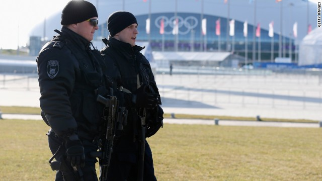 Security forces patrol the Olympic Park prior to the start of the Opening Ceremonies of the Sochi 2014 Winter Olympics at Fisht Olympic Stadium on February 7, 2014 in Sochi, Russia.