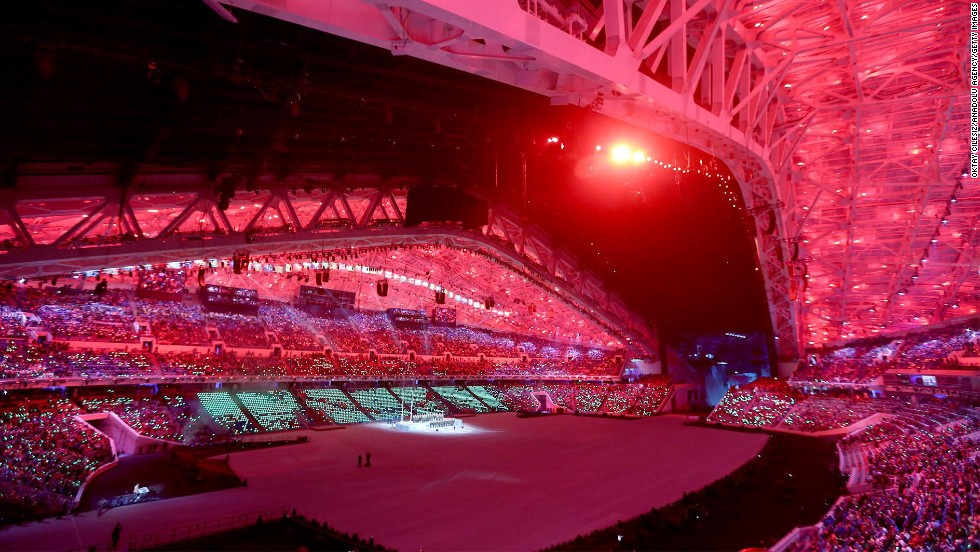 A general view of the stadium during the opening ceremony.