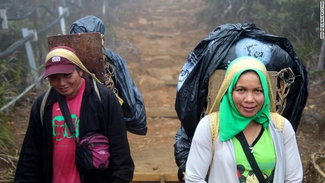 Porters earn 128 Malaysian Ringgit ($40) for two days' work on Mount Kinabalu.