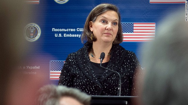 US State Department Assistant Secretary of State for European and Eurasian Affairs Victoria Nuland listens to a journalist's question during a press conference at the US Embassy in Kiev on February 7, 2014. Washington's top diplomat in Europe on February 7 refused to comment on a leaked phone conversation in which she used the f-word in regards to the EU's handling of the Ukraine crisis. AFP PHOTO MARTIN BUREAUMARTIN BUREAU/AFP/Getty Images