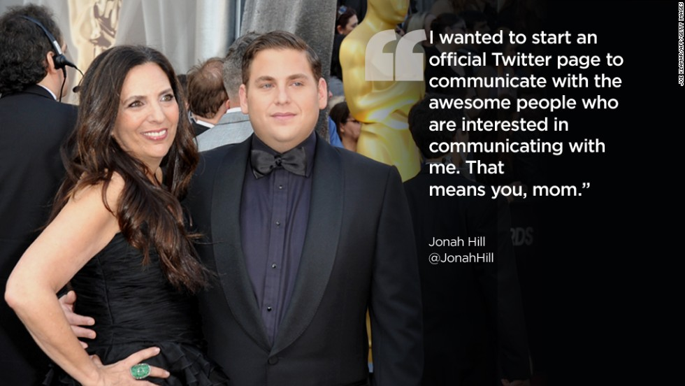 Actor Jonah Hill, who has almost 4 million Twitter followers, brought his mother, Sharon Lyn, to the Oscars in 2012.