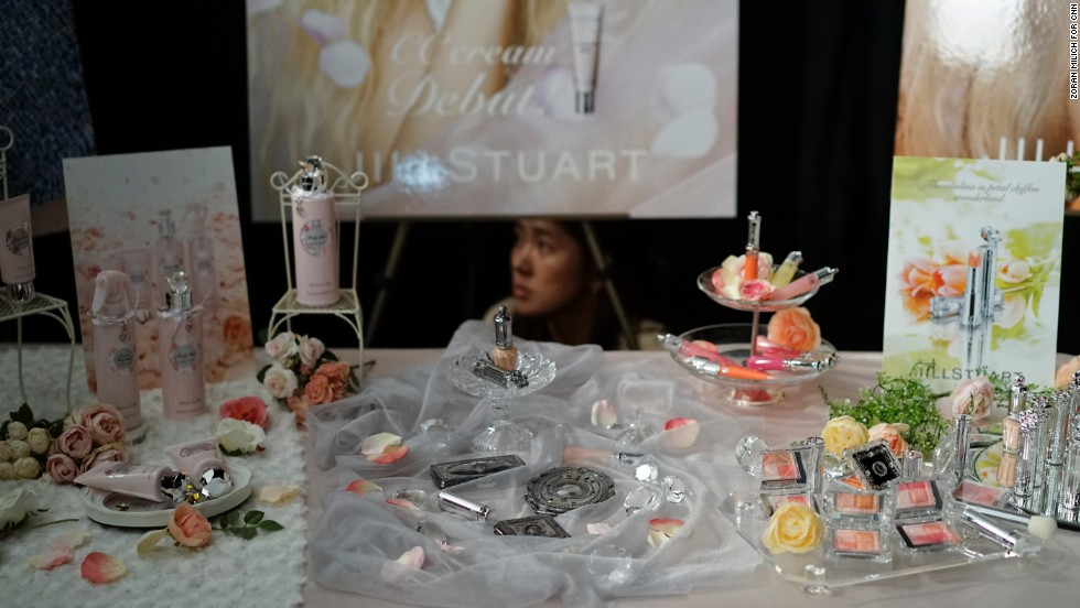 A perfume line by Jill Stuart is displayed before her show on February 8.