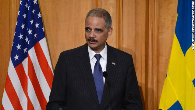 U.S. Attorney General Eric Holder delivers a speech at the Swedish Parlament in Stockholm, Sweden, February 4.