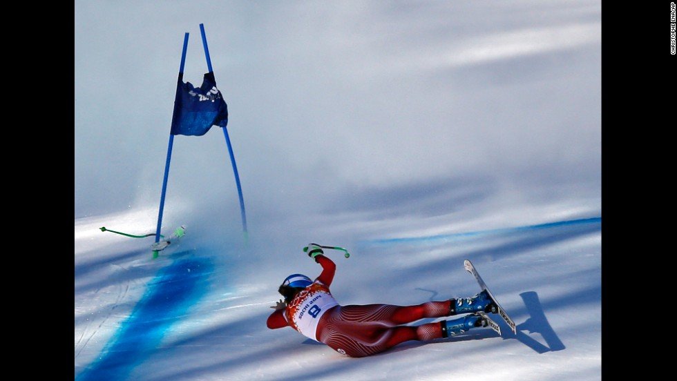 Jnglin-Kamer is seen near the finish line after her crash.