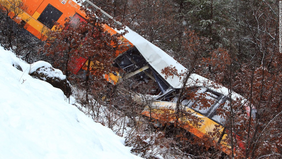 The train reportedly collided with a boulder that fell from the mountainside onto the track.