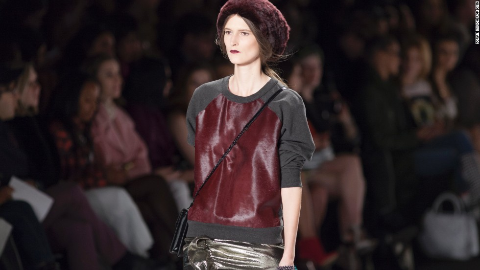 Rebecca Minkoff played around with luxe sweatshirts during her February 8 fashion show.