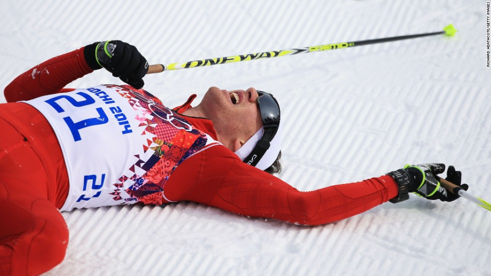 Dario Cologna of Switzerland won the men's skiathlon February 9.