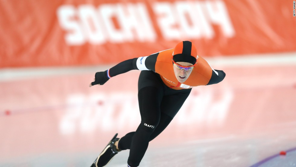Ireen Wust of the Netherlands on her way to gold in the women's 3000m speed skating event at Adler Arena Skating Center in Sochi