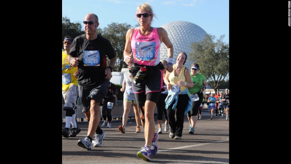 This 2013 Disney half-marathon was the couple's second such race together. Before he was a runner, Jordan was a walker. He began by walking for 30 seconds at a time, which was all he could do. He is now an ACE-certified personal trainer and health coach.