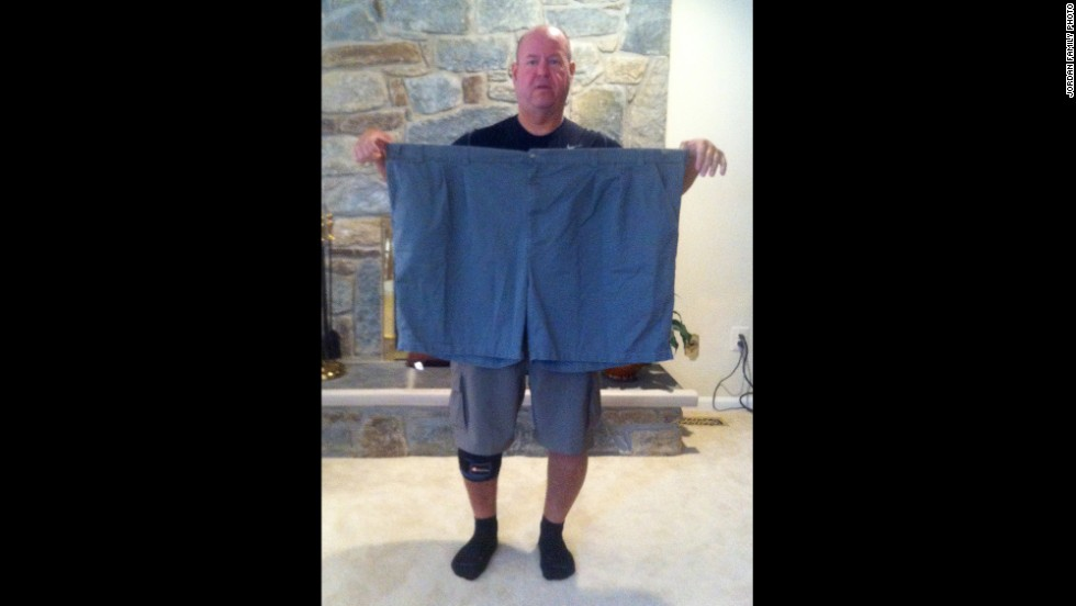 "After battling his weight for for years, Jordan decided to make a change. Here, in 2010, he holds up an old pair of his shorts, size 72 waist. He is 5 feet 8 inches tall. These shorts are 6 feet around. ""I lived, barely able to take care of myself -- caught in the endless cycle of remorse and regret,"" he said. ""People who are trapped in a cycle of obesity already have fear. They need hope."""