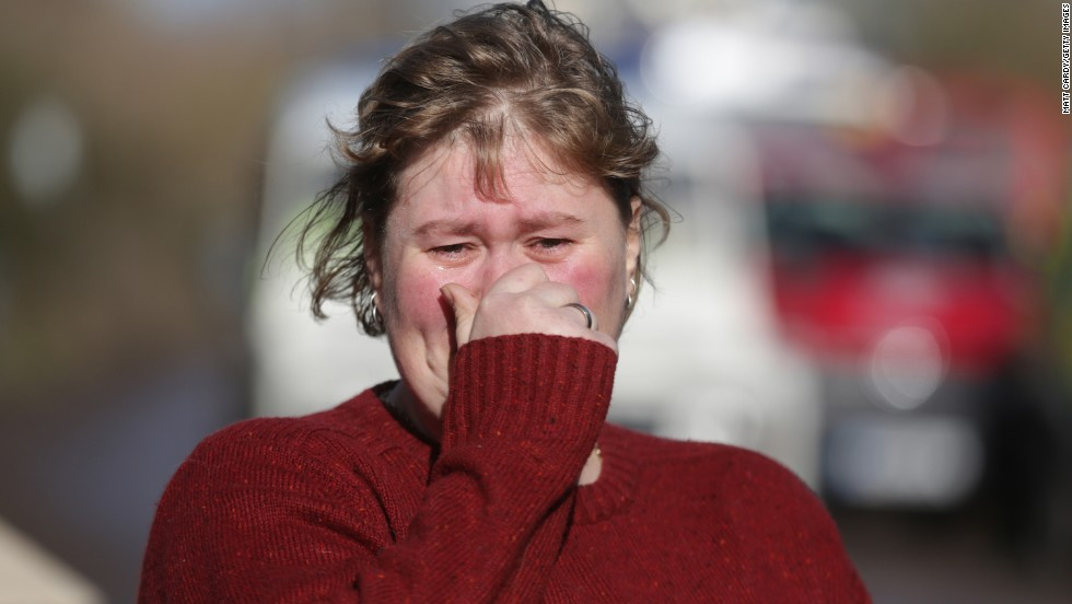 Moorland resident Hayley Matthews reacts as she talks about the flooding Friday, February 7.