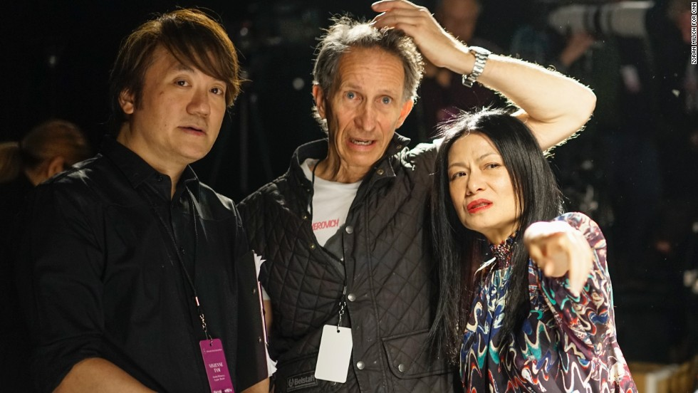 Designer Vivienne Tam and her team check the final details prior to her February 9 show.