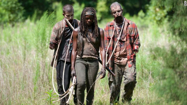 "Danai Gurira plays Michonne in ""The Walking Dead.""  The character's backstory was explored in a dream sequence Sunday."