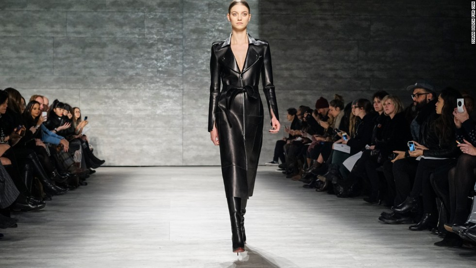 Mathieu Mirano opened up his February 10 show with a structured leather trench coat.