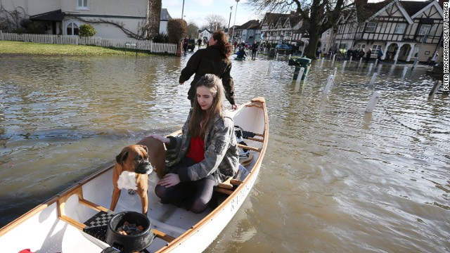 Evacuations after the river Thames burst it's banks on February 10, 2014 in Datchet, England.