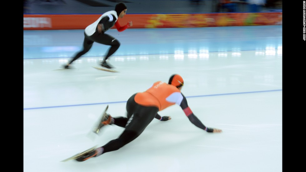 Dutch speedskater Stefan Groothuis falls February 10 during the men's 500 meters.