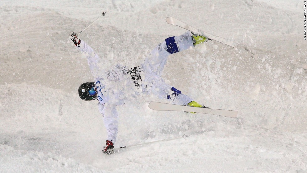 Jussi Penttala of Finland crashes in men's moguls.