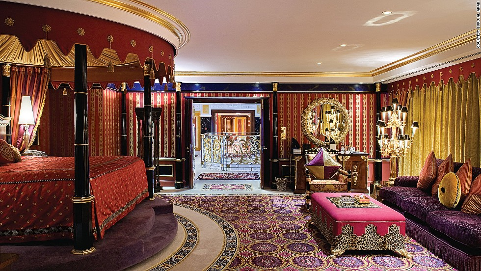 The Burj Al Arab's Royal Suite ($19,000) in Dubai comes with Hermes bath products, a 24-hour private butler, full-size jacuzzis and five-head rain showers in all the bathrooms, a menu featuring 17 types of pillows, a rotating four-poster bed, and free use of a 24-carat gold-plated iPad.