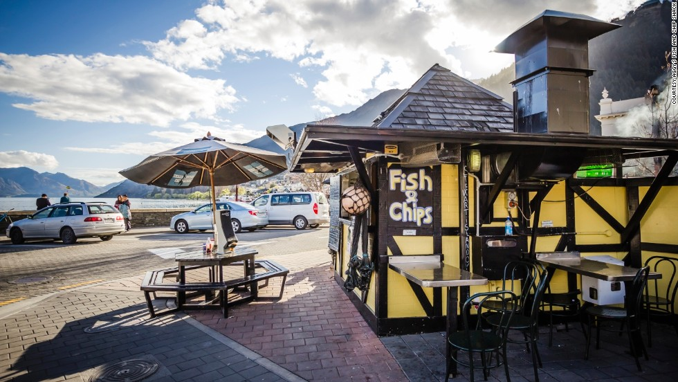 On the Queenstown lakeshore, Aggy's Fish and Chip Shack serves deep-fried fresh scallops and muttonbird -- an oily fish locals say tastes like old sheep.