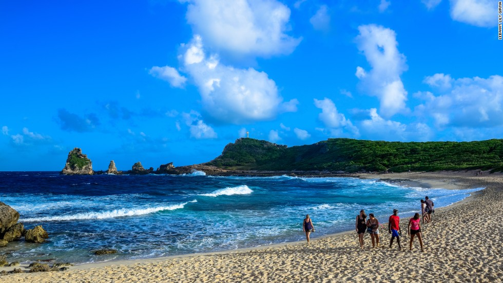 With dramatic cliffs surrounding a white sand beach, one of Guadeloupe Islands' most striking landscapes is reminiscent of the Mediterranean.