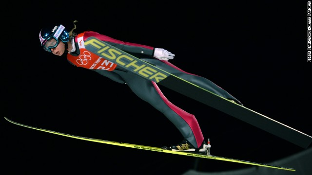 Norway's Maren Lundby trains at Sochi. This is the first Olympics to allow women to compete in ski jumping.