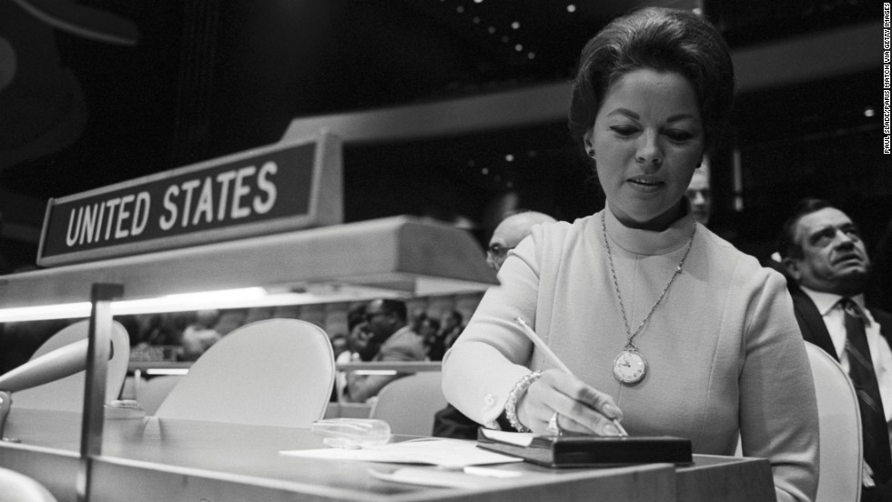 Temple Black sits at a United Nations session in 1969. She served as a delegate for the United States.