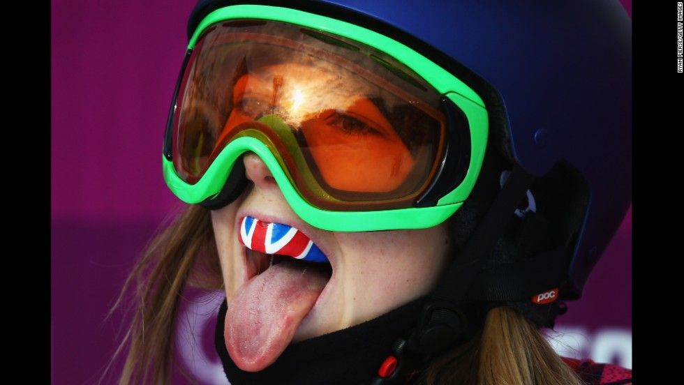 British skier Katie Summerhayes celebrates during slopestyle qualifying on February 11.