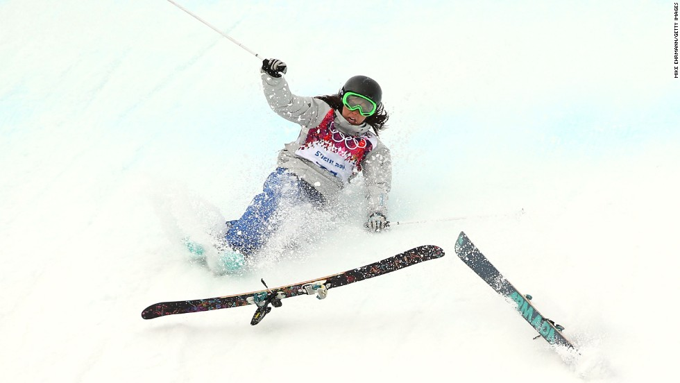 Anna Mirtova of Russia falls while competing in the slopestyle event on February 11.