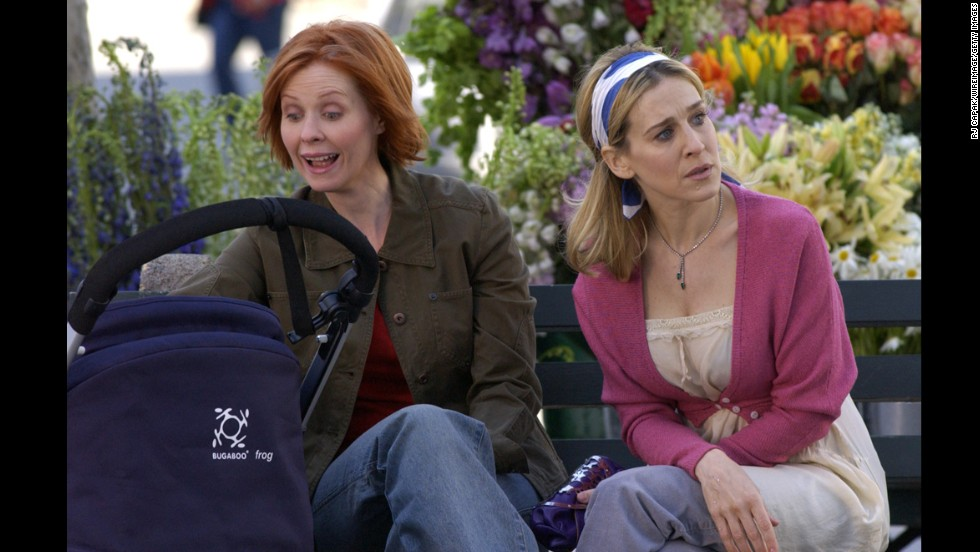 "Cynthia Nixon, left, as attorney Miranda Hobbes in ""Sex and the City."""