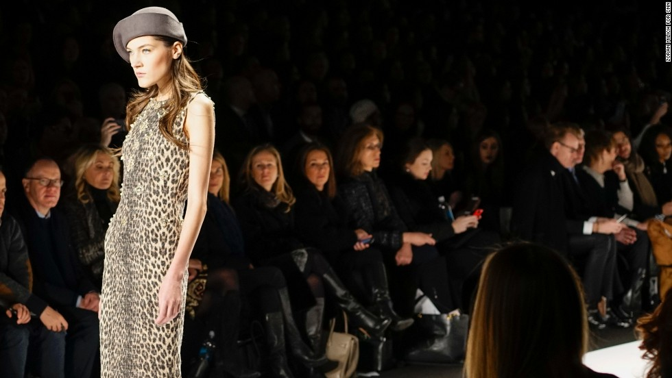 Leopard print was used in many pieces of Badgley Mischka's fall collection.