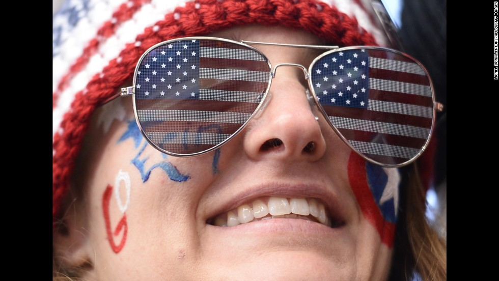 A supporter of American luger Erin Hamlin is pictured before the women's luge final February 11.