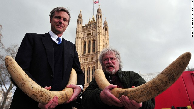 British politician Zac Goldsmith, left, and TV personality Bill Oddie raise awareness about the illegal wildlife trade this week.