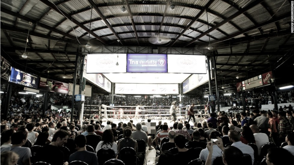 Fans filled the house to capacity on the last night at Bangkok's Lumpinee Boxing Stadium. The stadium holds between 8,000 and 10,000 spectators, depending on seating configuration.