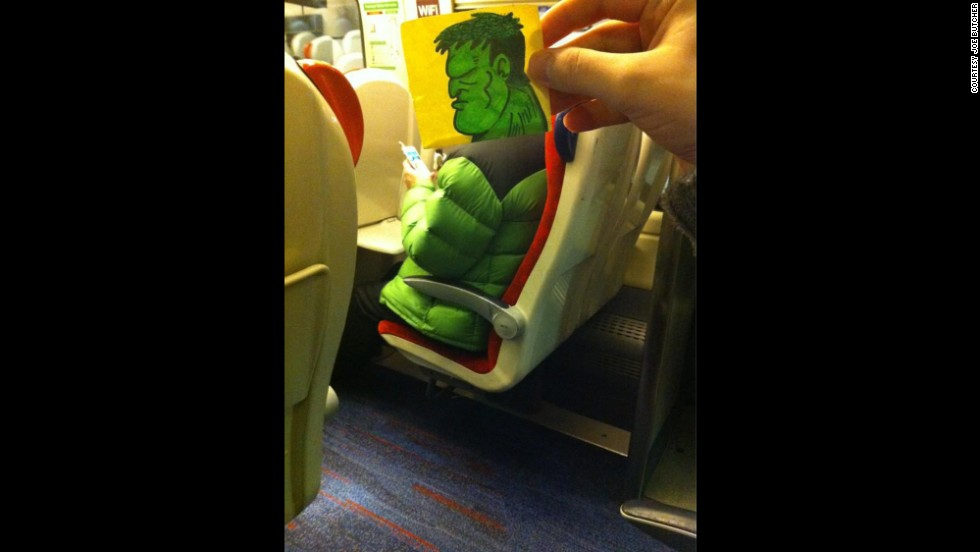 """THOR. THIS HULK. HULK BE LATE TO OFFICE. NO EAT HULK'S BAGEL,"" Butcher tweeted about this bright puffy commuter."