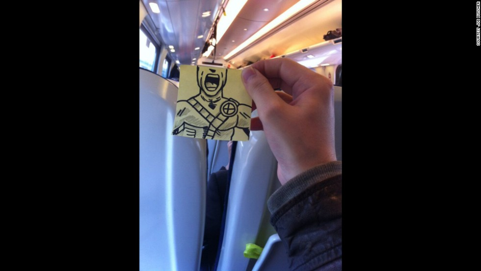 """On train. Cyclops is really pissed off,"" Butcher tweeted."
