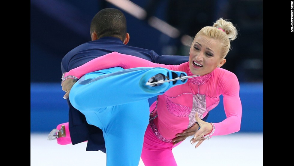 Aliona Savchenko and Robin Szolkowy of Germany compete in pairs figure skating.